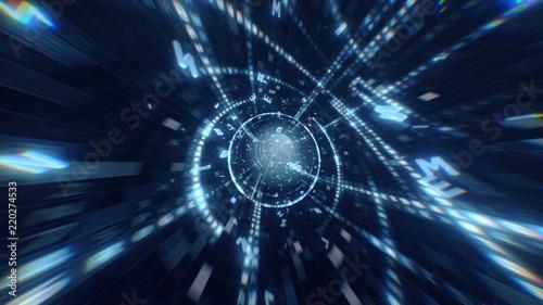 Fotomural  Digital Hexadecimal Code Data Tunnel 3d illustration