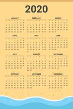 2020 Calendar With Beach Theme - Vector
