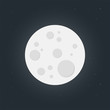 Full Moon On Dark Sky, Flat Design - Vector