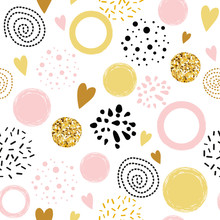 Vector Seamless Pattern Polka Dot Abstract Ornament Decorated Golden, Pink, Black Hand Drawn Round Shapes