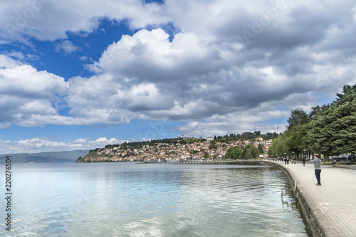 Spoed Foto op Canvas Stad aan het water Ohrid, Macedonia - circa Jun, 2017: Macedonia - Ohrid old town with lake reflection