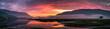 canvas print picture - Beautiful colorful sunset over Loch Leven, Glencoe village, Scotland, UK