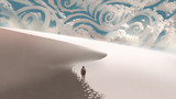 space traveller walking on sand dunes in the white desert to the horizon with fantasy clouds, digital art style, illustration painting