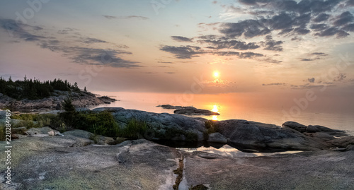 Majestic sunrise, natural light early in the morning on the shore of St-Lawrence river, Paradis Marin, Quebec, Canada