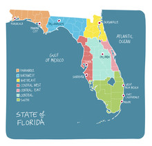 Hand Drawn Map Of Florida With Regions And Counties