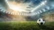 Leinwandbild Motiv Ball liegt im Fußballstadion auf dem Rasen