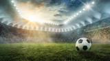 Fototapeta sport - Ball liegt im Fußballstadion auf dem Rasen