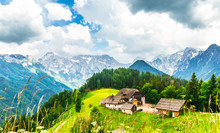 Farm In The Slovenian Alps By Logar Valley
