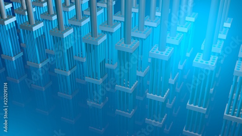 Valokuva  Nuclear fuel rods. 3d Render.Angled view
