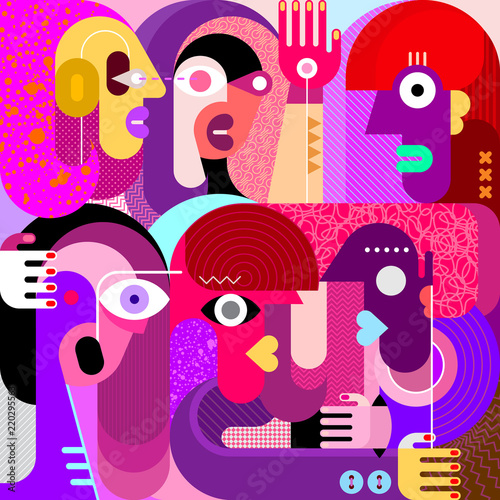 Door stickers Abstract Art Six People Portrait