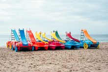 Colorful Pedalos On The Beach Sand