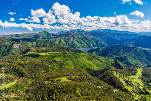 Poster Panoramafoto s Amazing summer landscape (Collsacabra Mountains, view from Sanctuary of Far, Catalonia, Spain)