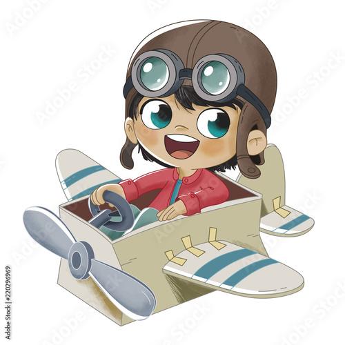 Obraz na plátne Niño jugando con un avión hecho de cartón