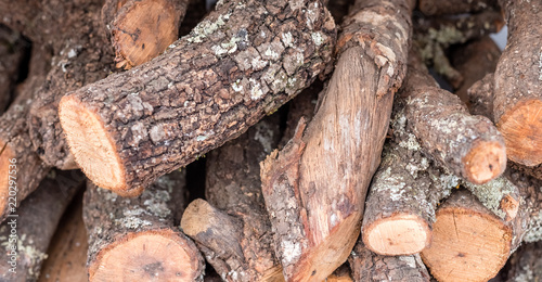 Foto op Canvas Brandhout textuur firewood stacked oak