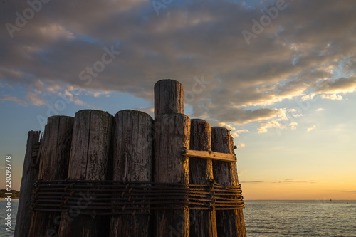 Fotografie, Obraz  Pilings at Claiborne Landing Boat Launch in the Chesapeake Bay Talbot County Mid