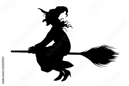 Fototapeta Vector witch flying on a broomstick on white background.