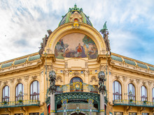 Municipal House - Art Nouveau Historical Building At Republic Square, Namesti Republicky, In Prague, Czech Republic.
