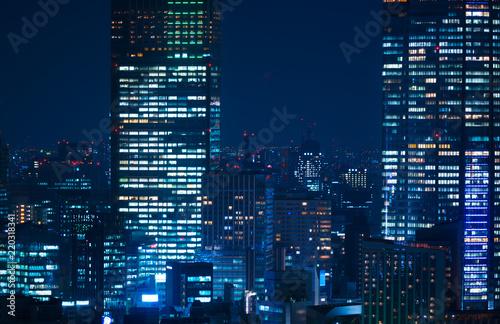 東京夜景・高層ビル群 クローズアップ Canvas Print