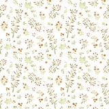 Akwarela bezszwowy wzór z ślicznymi małymi liśćmi i żółtymi jagodami na białym tle - 220319338
