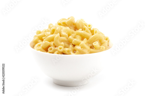 Classic Stovetop Macaroni and Cheese on a White Background