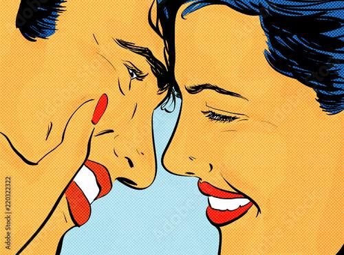 Jeune Couple Amoureux Souriant Heureux Dessin Pop Art