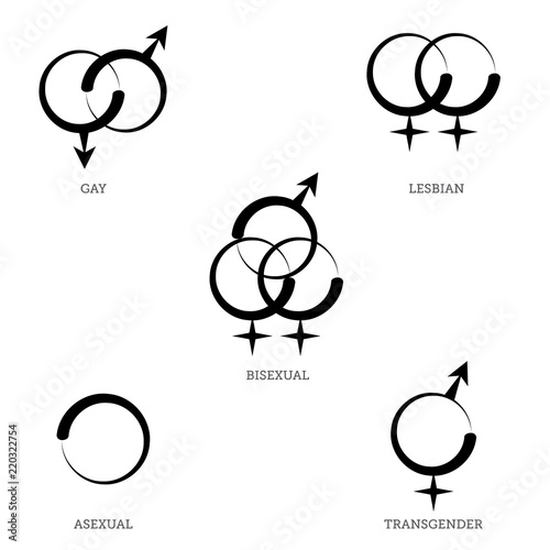 Photo  A Collection of LGBT Symbols for Gay, Lesbian, Bisexual, Transgender, and Asexua