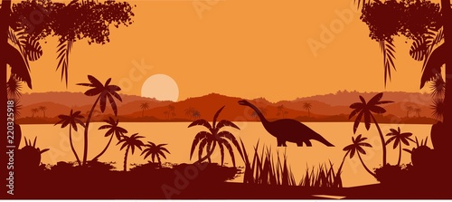 Poster Brown vector panorama of prehistoric tropical lake, with dinosaurs silhouettes