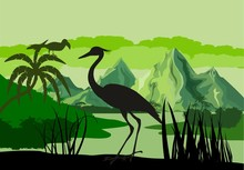 Vector Illustration Of Tropical Lake With Mountains, Trees And Ibis In Jungle Rainforest Wetland