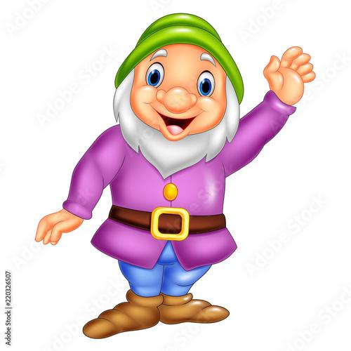 Cartoon happy dwarf waving Canvas