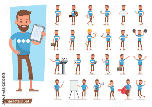 Vászonkép Set of office man worker character vector design