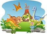 Fototapeta Dinusie - Cartoon happy dinosaurs in the jungle