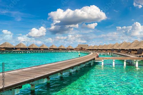 Foto auf Gartenposter Strand Water Villas (Bungalows) in the Maldives