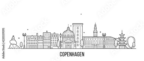 Copenhagen skyline Denmark vector city line style Wallpaper Mural