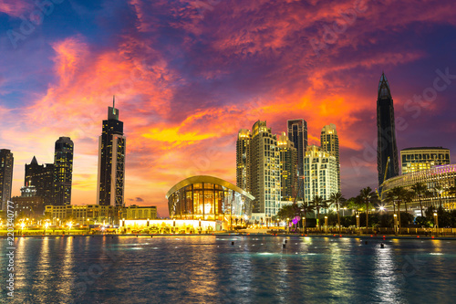 Tuinposter Crimson Dubai downtown at night
