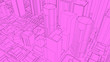 Leinwanddruck Bild - 3D Sketch city render