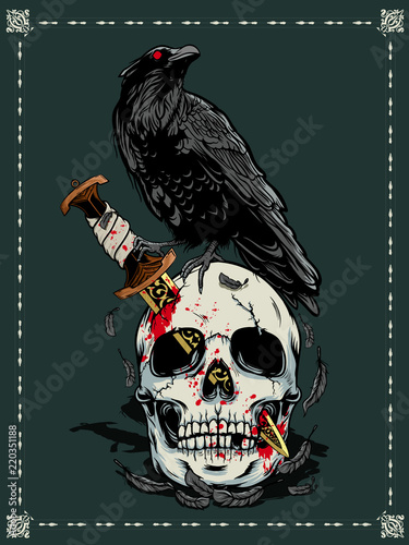 Halloween skull with crow illustration Canvas Print