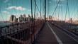 Brooklyn Bridge New York City panning shot