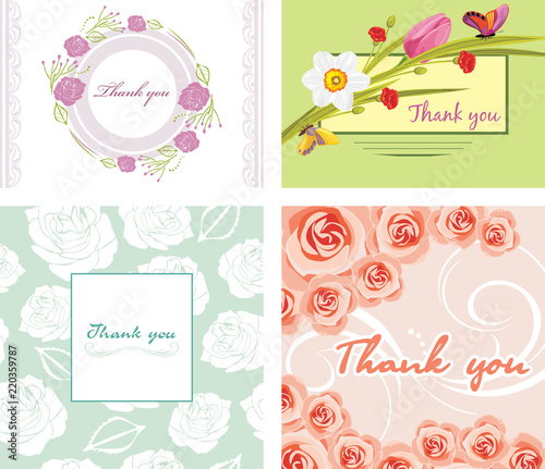 Photo Four floral thank you cards