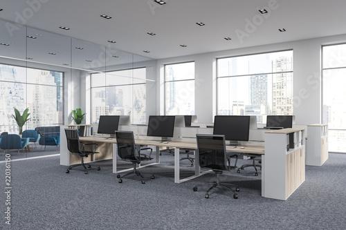 White open space office corner, cityscape