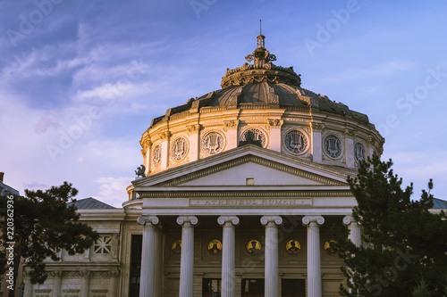 Spoed Foto op Canvas Theater The Romanian Atheneum in sunset light. Architecture in Bucharest