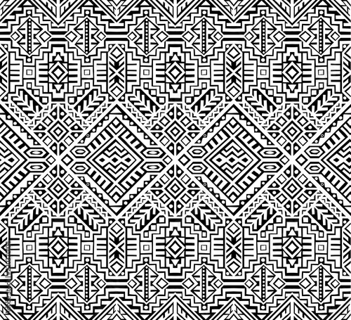Papiers peints Style Boho Simmetric seamless pattern in ethnic style. Tribal geometric ornament, perfect for textile design, site background, wrapping paper and other endless fill. Trendy boho tile.