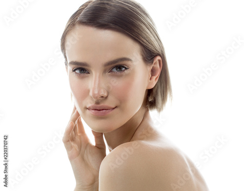 Fototapety, obrazy: Beauty Woman face with hands. Portrait. Beautiful Spa model Girl with Perfect Fresh Clean Skin. Female looking at camera and smiling. Youth and Skin Care Concept