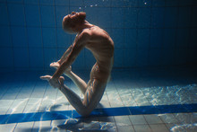 Athletic Sport Man Underwater In The Swimming Pool