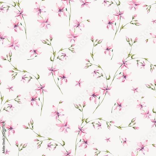 Leinwandbilder - Vector vintage floral seamless pattern with pink wildflowers.