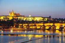 Prague Castle And St. Vitus Cathedral Above Vltava River, Prague, Bohemia, Czech Republic