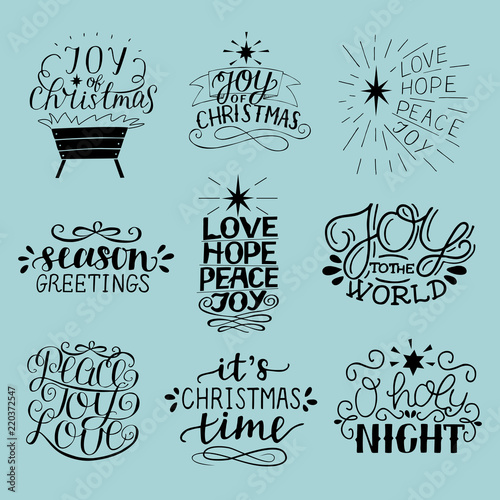 Fotografie, Tablou  Set of 9 Christmas inscriptions with lettering O holy night