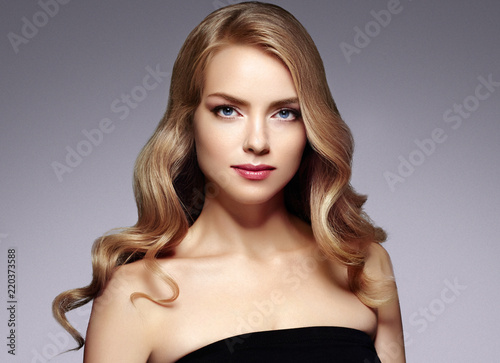 Beautiful blonde hair woman luxury beauty face makeup