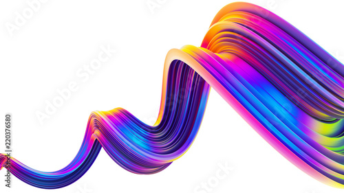 Tuinposter Abstract wave 3D wavy bright abstract design element in holographic neon trendy colors