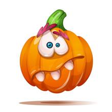 Cute, Funny, Crazy Pumpkin Characters. Halloween Illustration Vector Eps 10