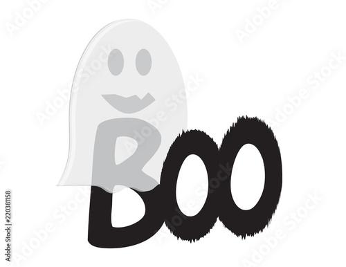 Fotografia, Obraz  Vector word BOO under a transparent cartoon ghost